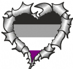 Ripped Torn Metal Heart with LGBT Asexual Pride Flag Motif External Car Sticker 105x100mm
